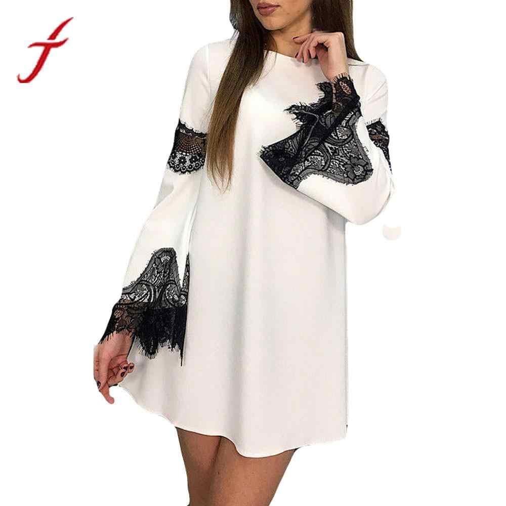 FEITONG Lace Patchwork Women Dress Fashion 2018 Elegant Lady splicing Sexy  Dress harajuku Evening Party Mini e3f25c884b1f