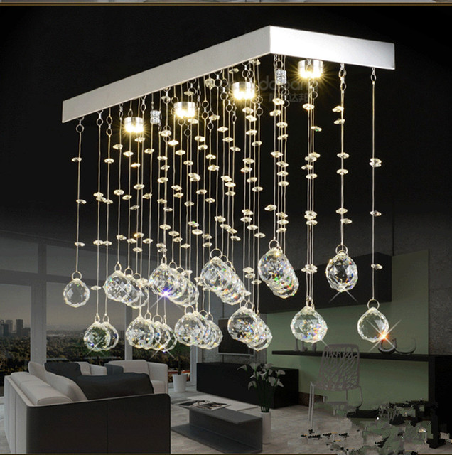 Chinese Style Led Crystal Kitchen Lighting K9 Clear Ceiling Lights Bar Dining Room Gu10