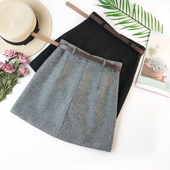 2019 Spring New Arrival Vintage Temperament High Waist A-line Office Skirts Womens With Belt Woolen Mini Skirt Free Shipping 5