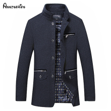 High Quality Mens Wool Blends Single Breasted Coat Designer Fashion Stand Collar Business Casual For Men 50wy
