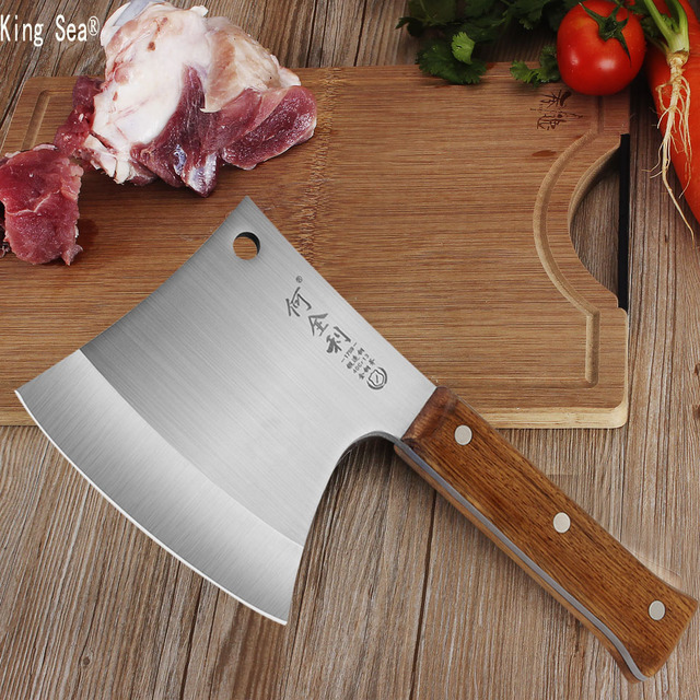 King Sea Professional Bone A Cleaver Knife Stainless Steel Wood Handle Heavy Duty Chinese Kitchen Knife Chef Knife Meat Cutter