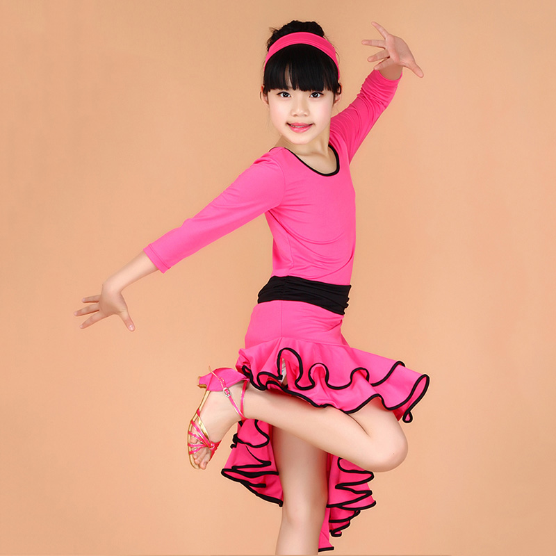 Girls Latin Dance Dress Fashion Ballroom Dancing Dress Girl Dancewear Kids Stage Performance Costume Vestido Baile Latino 3colors 100 160cm height kids child girls tassel dress ballroom latin salsa fashion dancewear dance costume dresses gifts