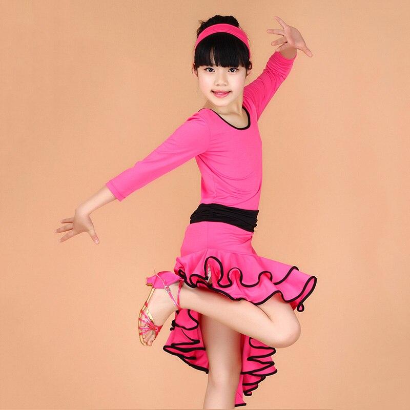 New Girls Latin Dance Dress Fashion Ballroom Dancing Dress Girl Dancewear Kids Stage Performance Costume Vestido Baile Latino 2016 top fashion linen elsa dress kids dresses for girls practise the new child girls condole belt latin dance 1986 jazz stage