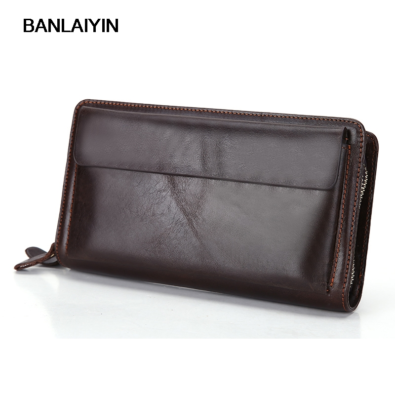 Fashion Double Zipper Men Clutch Bags Genuine Leather Men's Purses Large Capacity Long Man Cell Phone Wallets Best Gift For Men top brand genuine leather wallets for men women large capacity zipper clutch purses cell phone passport card holders notecase
