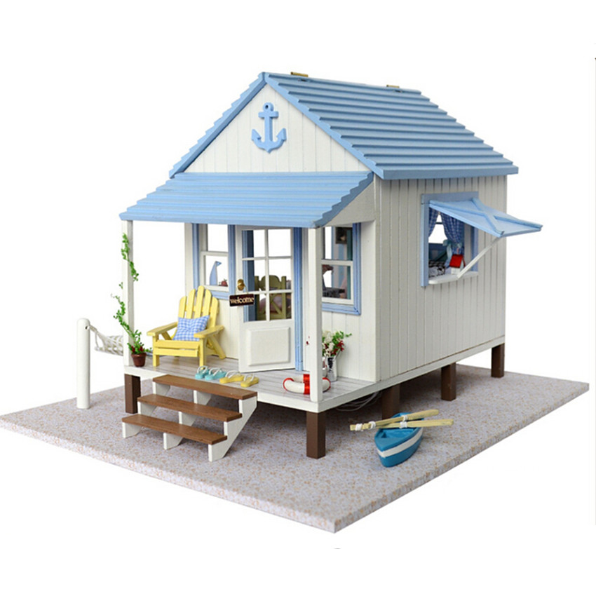 diy wood doll furniture miniature dollhouse coast villa with led lampshappiness coast house assembling toys for children aliexpresscom buy 112 diy miniature doll house