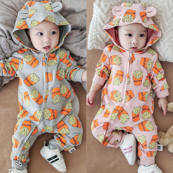 Baby printed French fries with cotton print and climbing suit