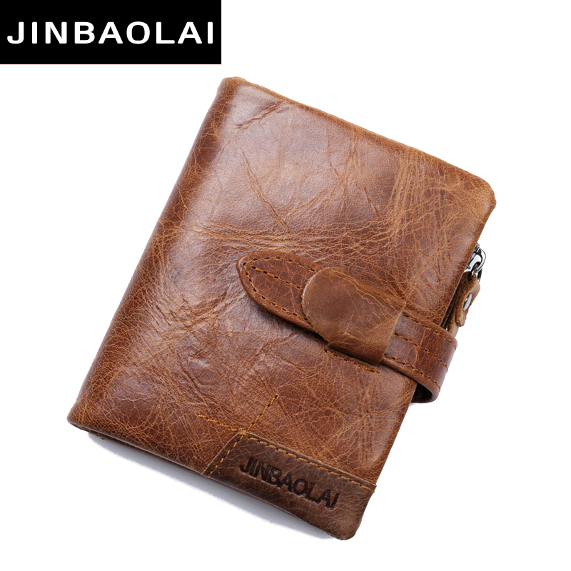 JINBAOLAI Fashion Genuine Leather Wallet Bifold Leather Wallet ID Card Holder Zipper Coin Purse Hasp Short Wallet for Men's Gift mens wallets black cowhide real genuine leather wallet bifold clutch coin short purse pouch id card dollar holder for gift