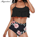 Summer push up new sexy bikini 2019 Lotus leaf edge swimsuit bathing suit women high waist swiming suits Halter Top swimwear