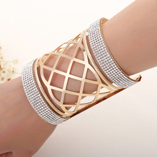 New Fine Designed Punk Gold Bangle Women Crystal Stripes Bracelet Wristband Charm Multi-layer Rhinestone Bracelets Party Jewelry цена 2017