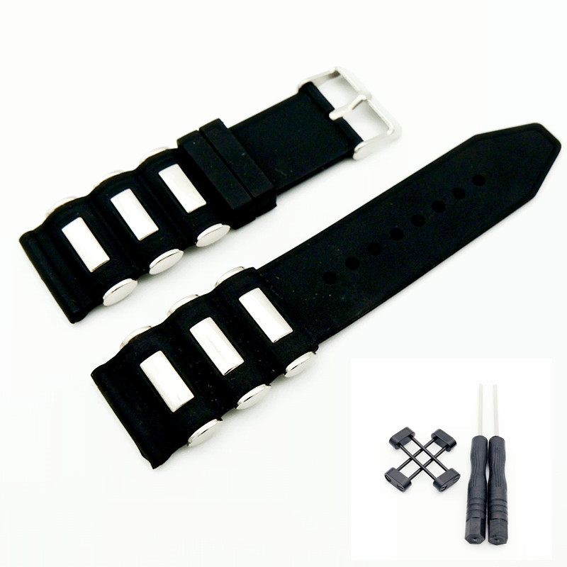 For Suunto Core Watch Strap Band Rubber Silicone & Stainless Steel Watchband With Clasp Buckle And Black / Silver Adapters 24MM