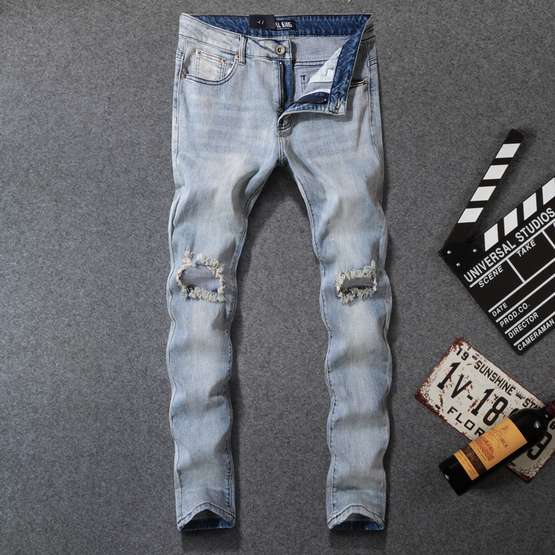 American Streetwear Fashion Men Jeans Light Blue Slim Fit Elastic Ripped Jeans Men Destroyed Denim Pants Hombre Hip Hop Jeans