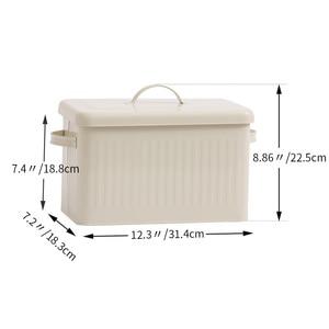 Image 5 - 8L גדול מתכת לחם קופסא עם מכסה אבק הוכחה מקרה קרם לבן רטרו אחסון סל מטבח מזון מיכל ארגונית אחסון תיבה