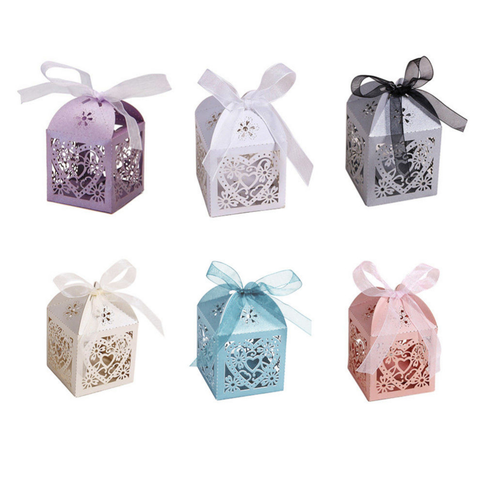 50 Pcs Baby Shower Candy Box Wedding Favors Boxes With Ribbon Gifts ...
