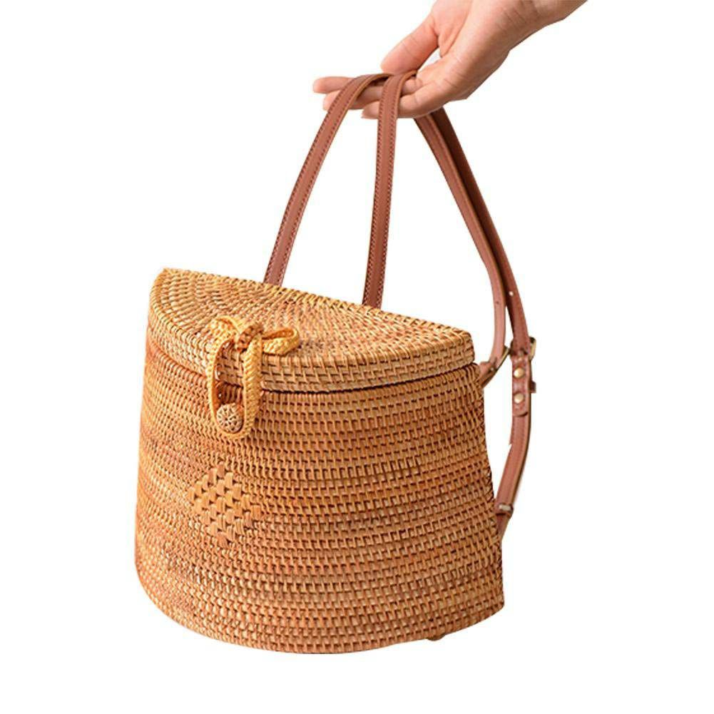 AFBC Straw Woven Backpack Bag For Girl Women,Rattan Ins Style Backpack Basket Hand-woven Bag Crossbody Bag Shoulder bag pair of stylish rhinestone triangle stud earrings for women