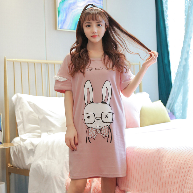 Summer Cotton Women Nightgown Female Cute  Sleepwear Pregnant Lady Sleepshirt & Casual Home Clothes Plus Size M-5XL Nightgown 1