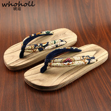 WHOHOLL summer slippers Japanese wooden clogs Men Women beach Flip-flops Geta Cosplay Kimono Flat Slippers Summer Wooden Shoes