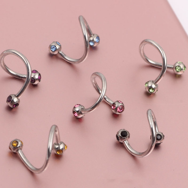 Us 18 0 16g Twist Belly Ring Navel Horseshoe Eyebrow Nose Spiral 5 Gemmed Balls Mix 10 Color 50 100 200pcs Nose Body Jewelry On Aliexpress Com