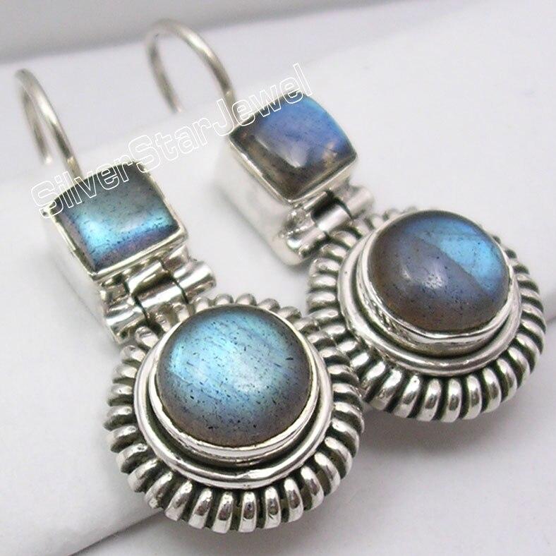 Silver LABRADORITE OXIDIZED Dangle Earrings 3 1CM