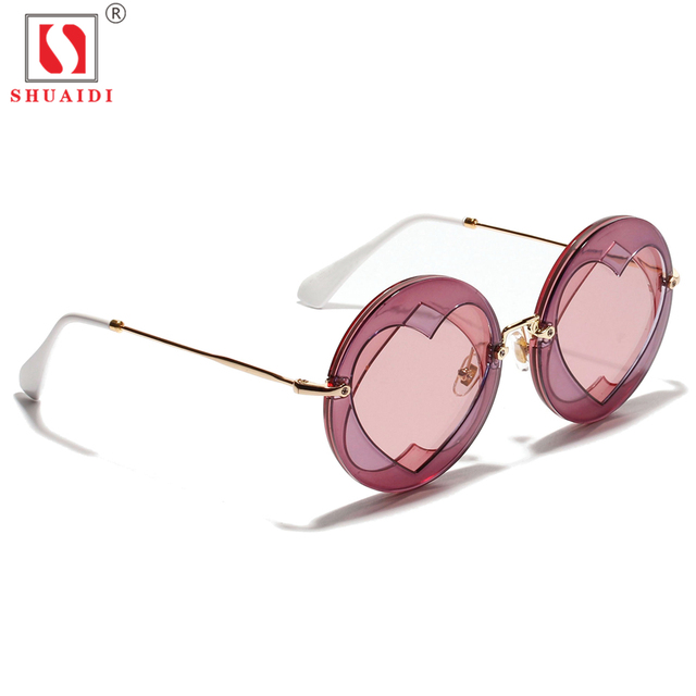 info pour prix officiel bien connu US $12.28 44% OFF|Aliexpress.com : Buy Round Sunglasses Women Sun Glasses  Retro Vintage Brand Designer Double Heart Shape Lens Eyewear Sunglasses ...