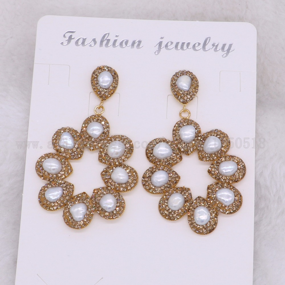 5 Pairs Fashion Flower earrings with natural Pearls drop earrings Rhinestone Fashion jewelry earrings gift for
