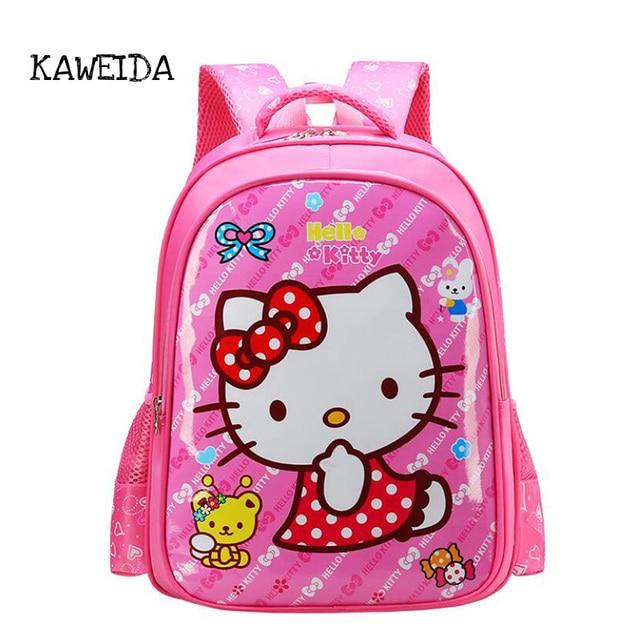 Kids Medium Hello Kitty School bags Cute Pink Minnie Elisa Princess Batman  Schoolbag Orthopedic Backpack Day Pack for boys girls 1c6ae847146fb