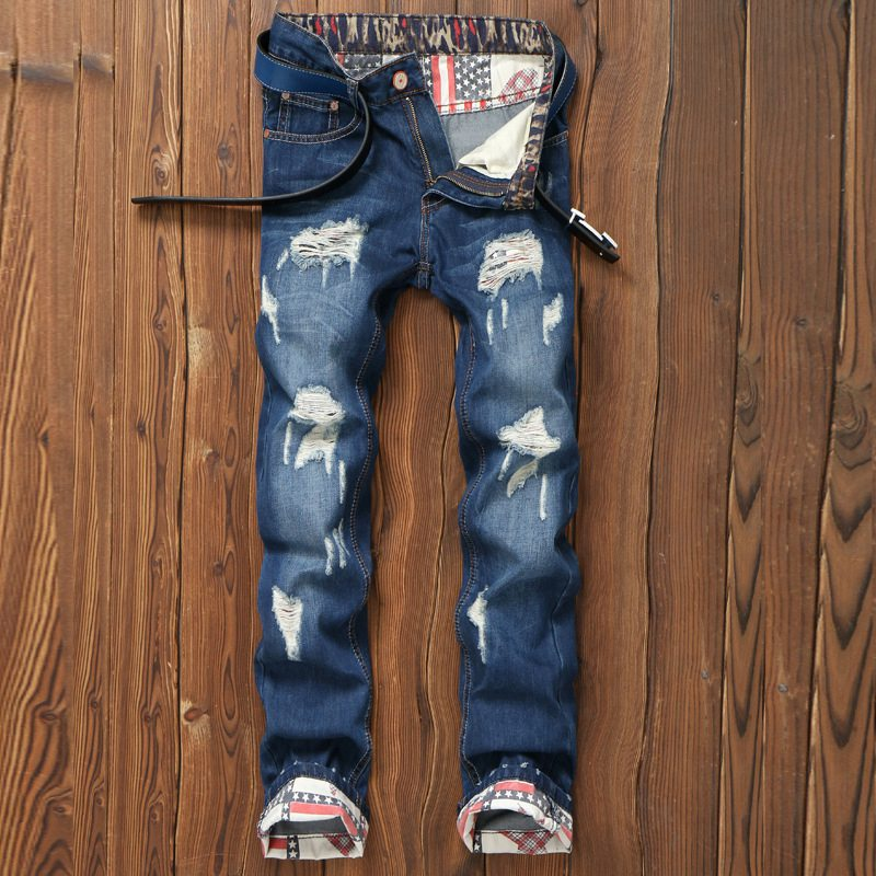 New Famous Brand Vintage Men Jeans Designer Casual Hole Ripped Jeans Mens Fashion Skinny Denim Pants Silm Fit Biker Jeans Homme 2017 fashion mens jeans straight denim biker jeans men trousers new famous brand superably jeans skull ripped pants u292
