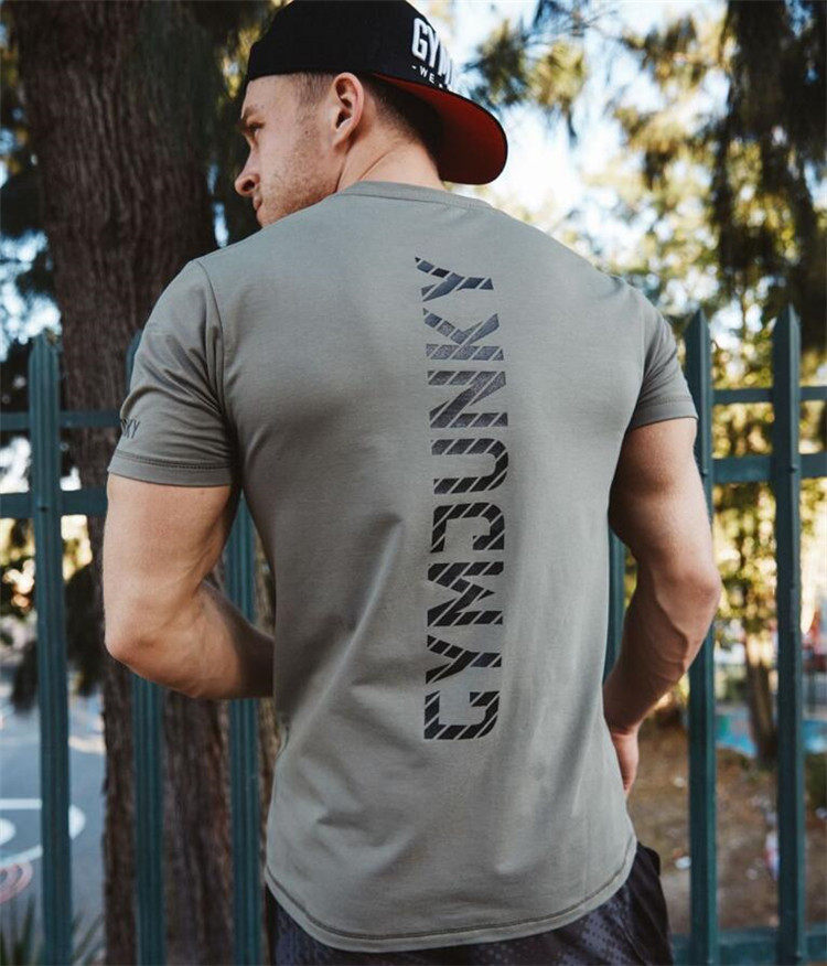 New Men Cotton Short Sleeve   T  -  shirt   Gyms Fitness Bodybuilding Crossfit Clothing Man Workout   T     Shirt   Casual Brand Tee Tops