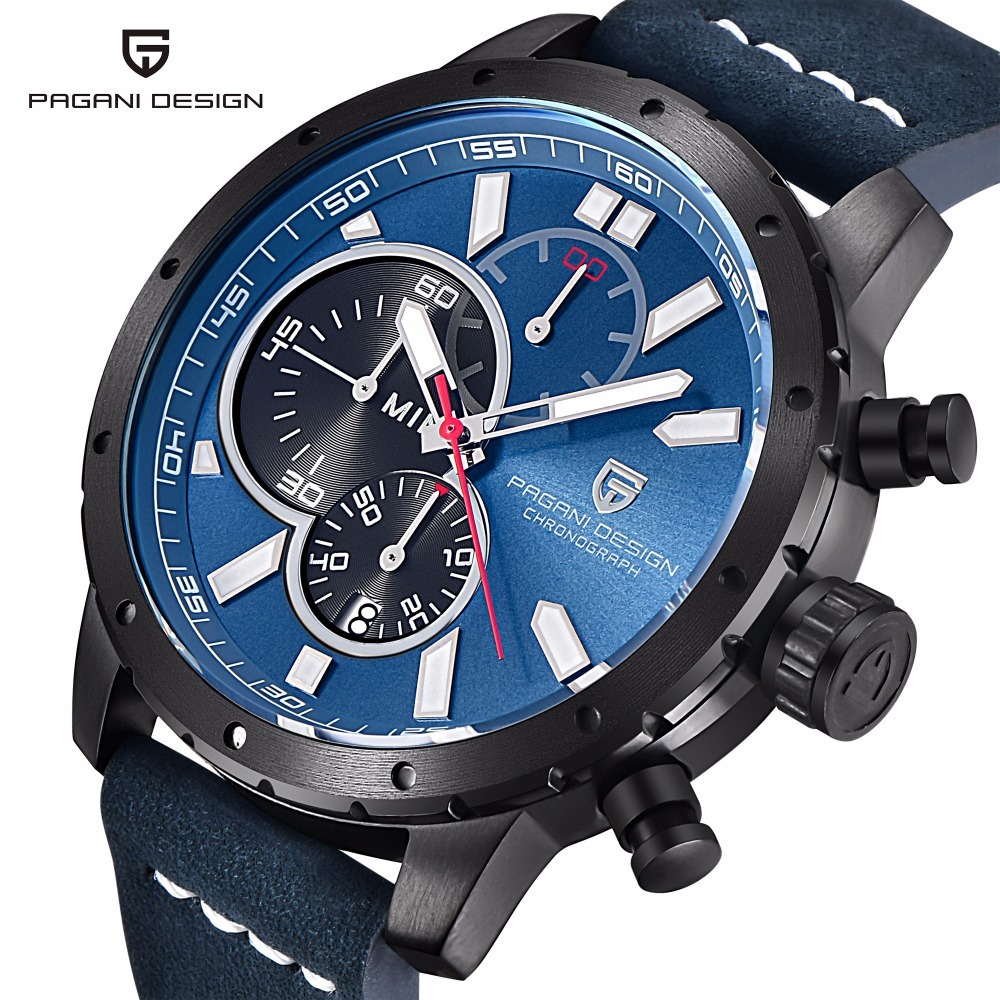 Men's Watch Luxury Brand PAGANI Design Waterproof Leather Sports 30M Quartz Watches Military Chronograph Watch Relogio Masculino luxury brand pagani design waterproof quartz watch army military leather watch clock sports men s watches relogios masculino