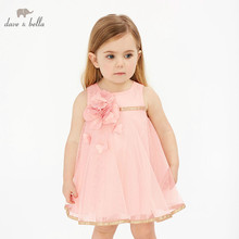 DBM10585 DAVE BELLA summer baby girl princess clothes children party wedding dress kids sleeveless boutique flowers dresses