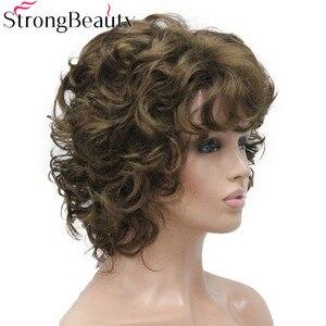Image 3 - StrongBeauty Peluca de pelo corto sintético rizado para mujer, resistente al calor, sin capa
