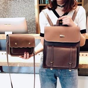 Image 2 - Комплект из двух предметов, женский рюкзак из высококачественной искусственной кожи, Женский школьный рюкзак для девочек подростков, сумка на плечо, 2018