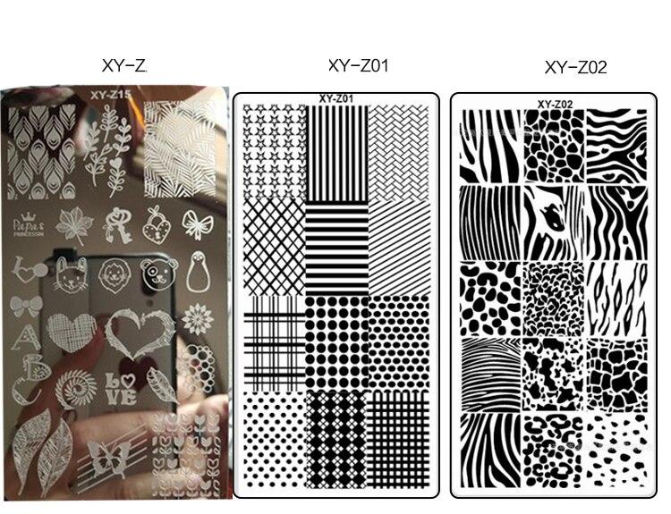 Nueva placa de uñas XY-Z plantilla de impresión de 32 uñas placa de acero de pintura de uñas 6*12 placas de estampado de uñas geometría encaje flor sueño
