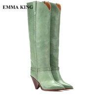 EMMA KING/Новинка 2018, стильные женские высокие сапоги с острым носком, без шнуровки, на высоком каблуке шпильке, сапоги до колена, зеленые зимние