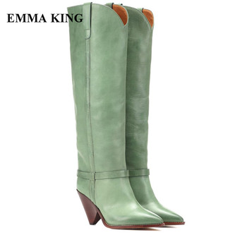 New Female Spikes Green Knee High Boots Lady Runway Slip On Pointed Toe High Heels Shoes Women Fashion Catwalk Womens Long Boots