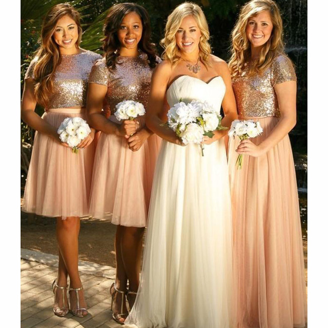 2017 Sparkly Blush Pink Sequins Bridesmaid Dresses Cheap Short Sleeves Plus Size Junior Two Pieces Wedding Guest Prom Party Gown