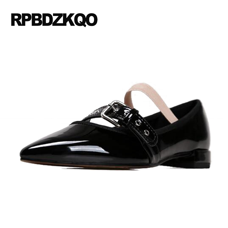 Nude Designer Famous Brand Shoes High Quality Patent Leather Mary Jane Pointed Toe Flats Low Heel Ballet Ladies Black Ballerina nude designer famous brand shoes high quality patent leather mary jane pointed toe flats low heel ballet ladies black ballerina