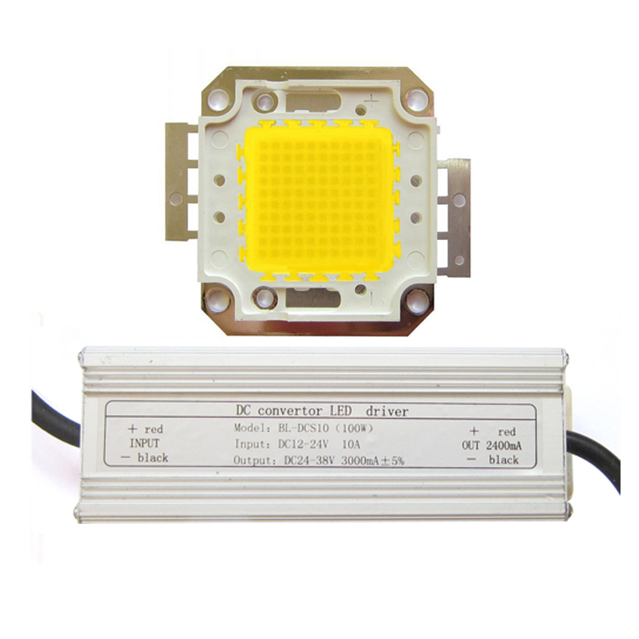 100W Warm White 3000~3500K SMD LED Light Bulb lamp Part With Waterproof DC 12~24V LED Driver