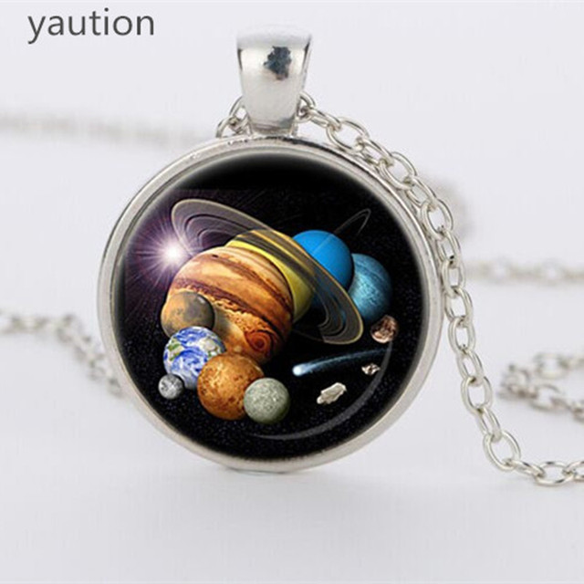 New SOLAR SYSTEM PENDANT Astronomy Pendant Space Jewelry galaxy Necklace Planet Jewelry Multicolor Geek Gift