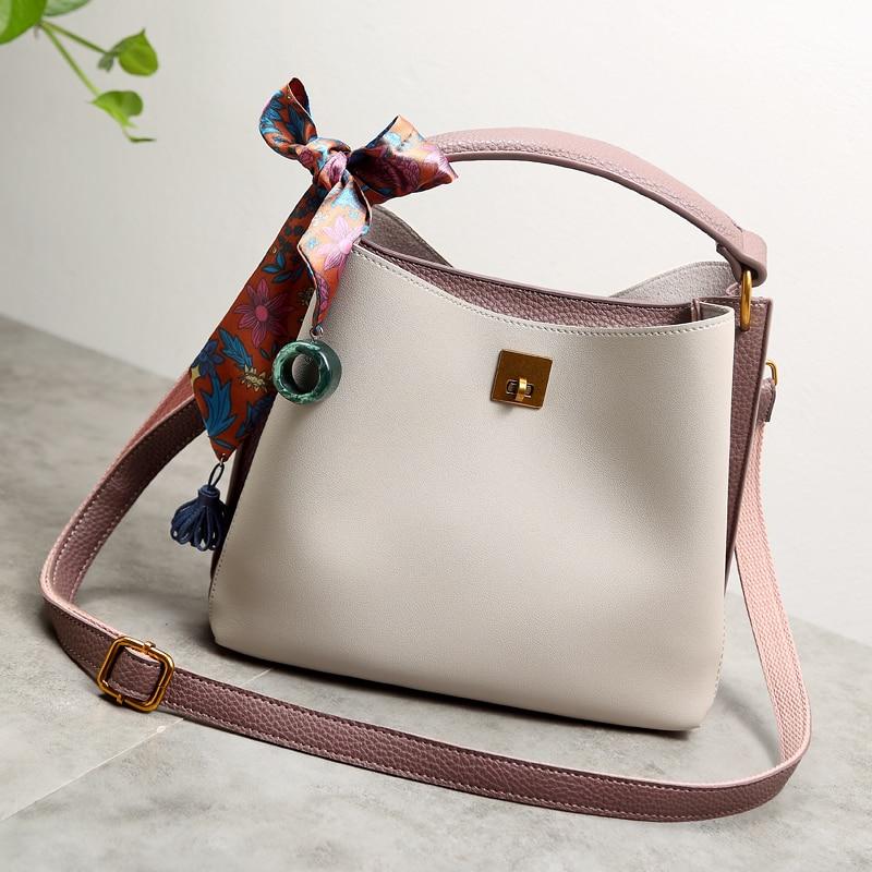 2017 Women Genuine Leather Handbags Luxury Womens Messenger Shoulder Bags summer Bucket Crossbody woman Luxury Brand new X95