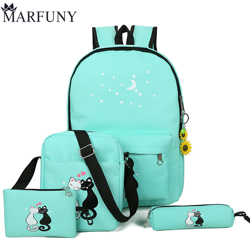 4 Pcs/Set Backpacks Cute Cat School Bags For Teenage Girls Printing Backpack Fashion Canvas Women Bag Ladies Shoulder Bags Sac vintage cute owl backpack women cartoon school bags for teenage girls canvas women backpack brands design travel bag mochila sac