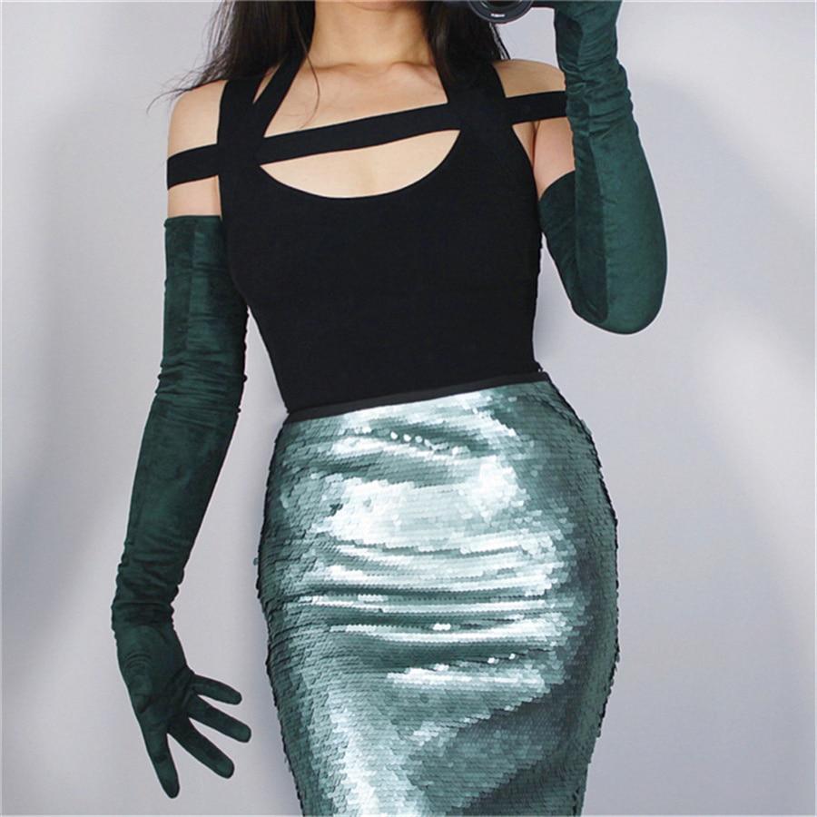 Female 70cm Suede Gloves Extra  Long Matte Sanding Simulation Leather Dark Green JPSL70