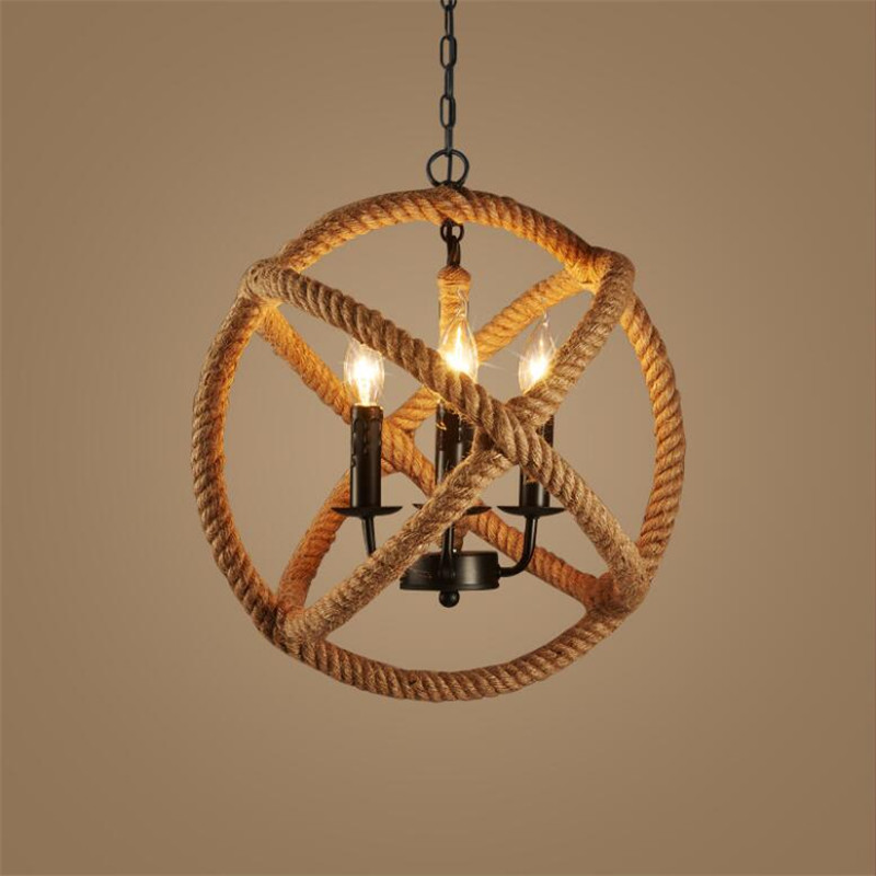 L65-American village retro iron handmade hemp rope ceiling lamp LOFT bar cafe living room restaurant personality pendant light american country retro e27 led pendant lamp iron hemp rope hand knitted indoor lighting shop restaurant bar living room lamp