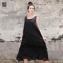 Контур Для женщин шелк хлопок летние платья Винтаж О-образный воротник, без рукавов выдалбливают Кружево пляжные Повседневное сарафан леди Vestidos l142y024