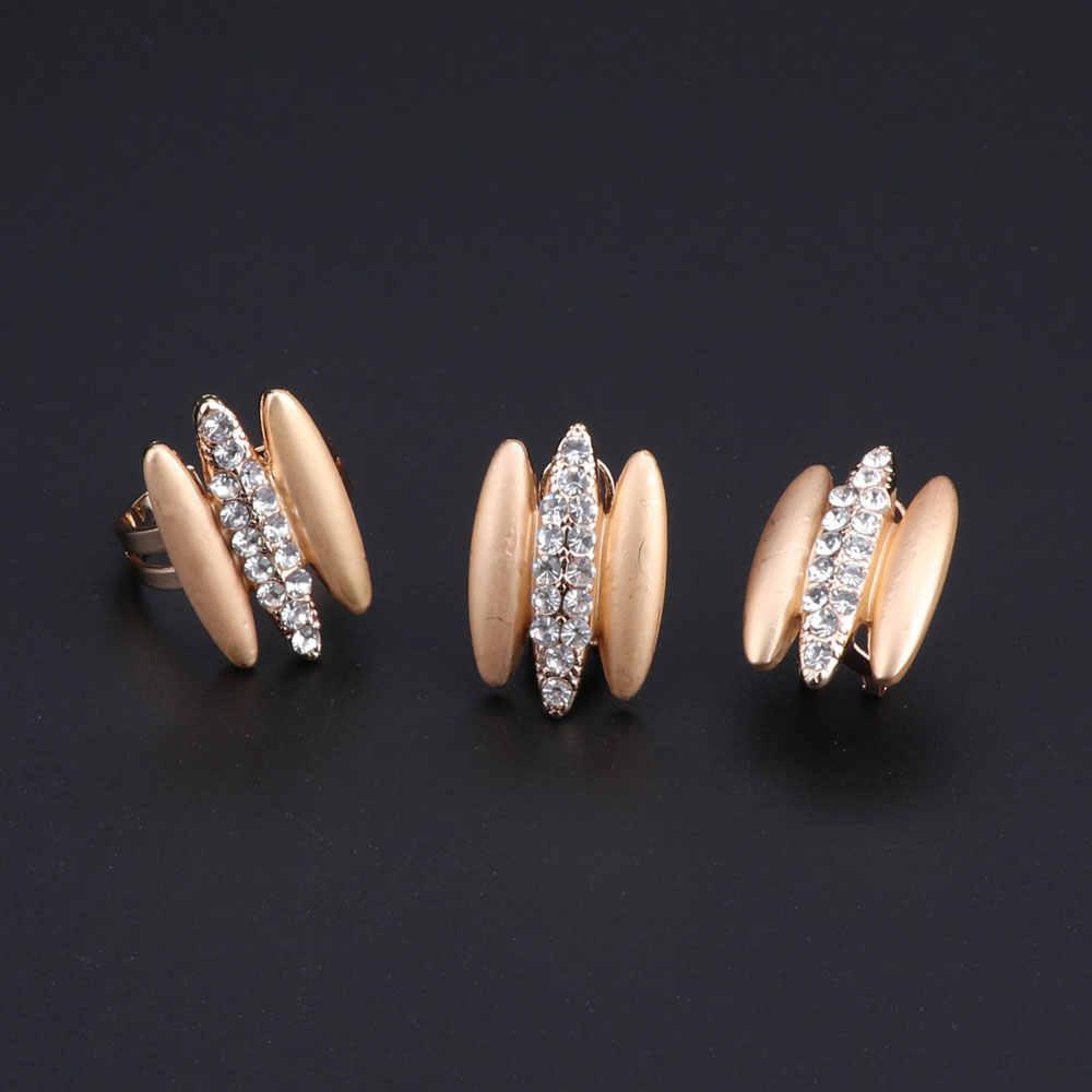 Женский Африканский бисер ювелирный набор золотого цвета индийские ювелирные изделия аксессуары Дубай ожерелье серьги, браслет, кольцо наборы