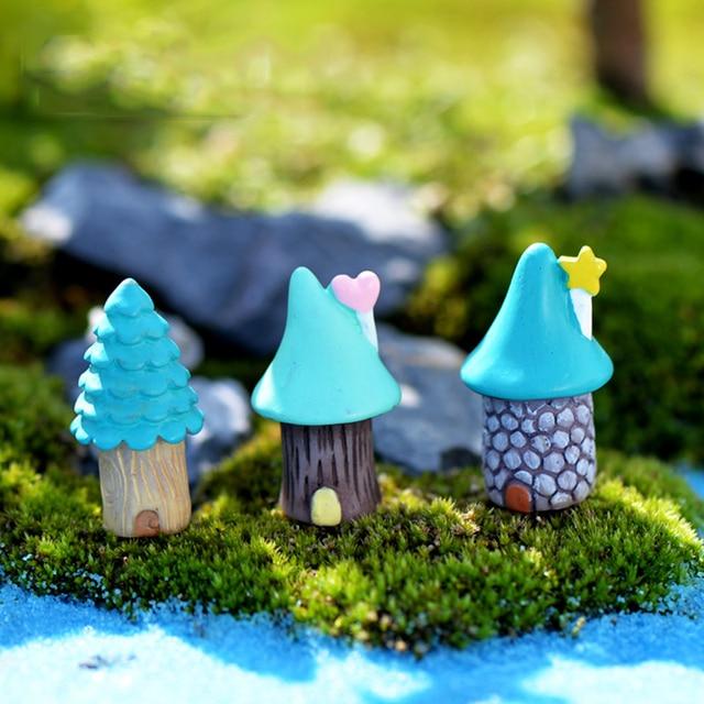 inkanear creative micro fairy garden figurines resin mini blue house tree miniaturesterrarium decor diy - Garden Figurines