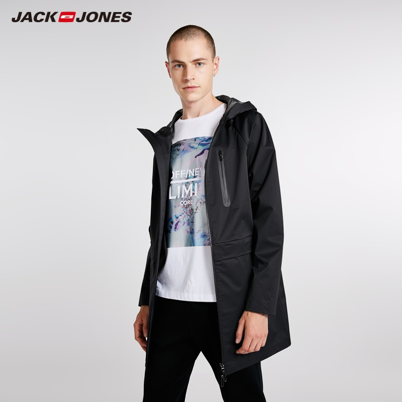 JackJones Men's Hooded Trench Coat Long Jacket Fashion Style Menswear 218321523