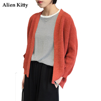 Alien Kitty Short Female Cardigan 2017 Autumn Solid Color Full Sleeves Women Knitted Sweaters Open Stitch