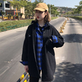 Весна Джинсовой Ткани Женщин Куртка Harajuku Черный Карман Корейский Прохладный BF Стиль Студент Пальто