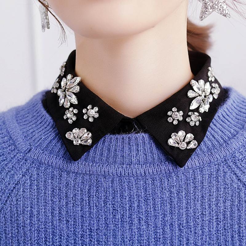 Women Detachable Collars Crystal Diamonds Chiffon Shirt Fake Collar Removable Peto Mujer Chemisier Daily Faux Cols China Garment