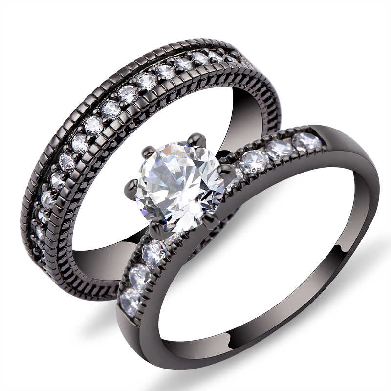 2018 Charming Green Crystal Zircon Ring Sets Vintage Wedding Rings For Men And Women Black Gold Filled Jewelry Valentine's Day